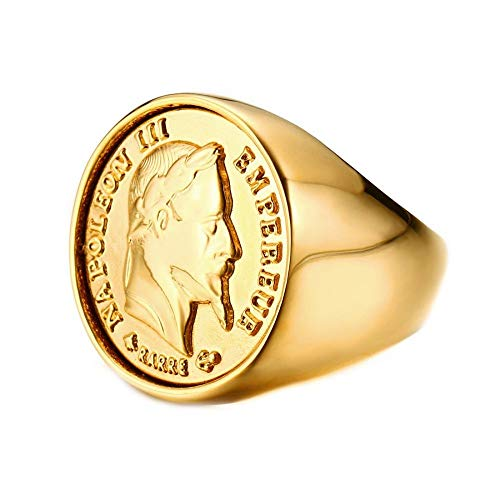 BOBIJOO Jewelry - Siegelring Ring Napoleon-Stück 20-Franken-Kopf Stahl Vergoldet Massive Runde - Neues Modell Améliorié - 17,8 (7 US), Vergoldet - Edelstahl 316