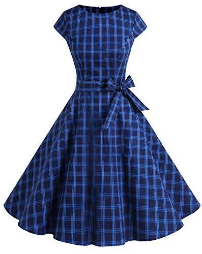 MuaDress 1956 50er Vintage Kleid Kurz Baumwolle Retro Cape Coatktailkleid Rockabilly Marineblau Kariert L (Herren 50er Jahre Mode)