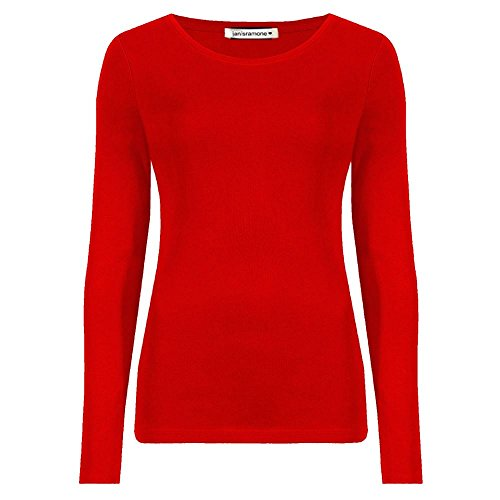Janisramone donne Le signore Nuovo Il giro collo Lungo Manica Pianura casuale stretchy Tee magra Di base adattarsi Maglietta cima Rosso