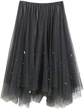 Yiiquan Falda de Tul de Princesa de la Falda del Vendimia de Falda de Mujer Oscilación Tutú Organza Falda de Ballet...