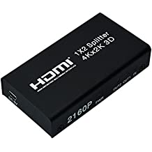 MPTECK @ HDMI Duplicador 1 a 2 HDMI Splitter Multiplicador Conmutador (1 entrada 2 salidas) - Soporte 1080P 2160P FULL HD 3D Ultra HD 4K * 2K para HDTV PS3 PS4 Xbox Reproductor de DVD Ordenador