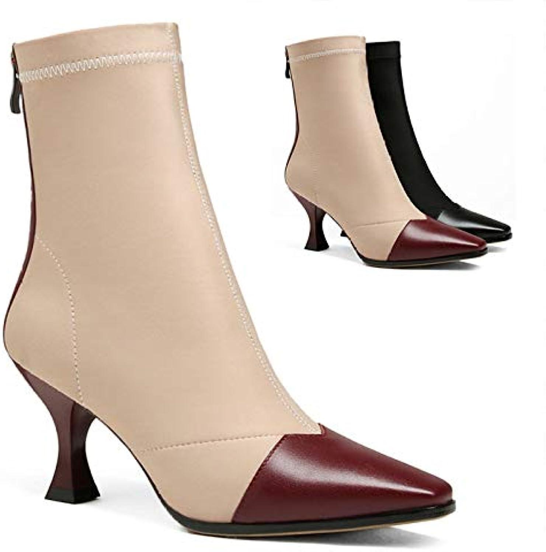 XQY Bottes Noires pour Dames - Bottines Noires Bottes en Angleterre/Bottes Chaudes De Couleur Unie Simples/Fines avec De La... c06e1a