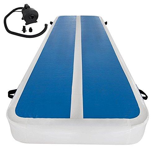 Buoqua 2x10M Aufblasbare Gymnastic Tumbling Matten Luft-Bahn-stolpernde Matte weiß + blau Inflatable Gymnastics Tumbling Mat gymnastische mit Pumpe für Hauptfitness und Turnhalle Aufblasbare Matte