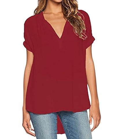 Chemisier Manche Courte Chemise Manches Courtes Col V Mousseline de Soie Longue Chemisiers Blouse Femme Fluide Tunique Chic Long Grande Chemises Habillé Femmes Longues Haut Top T-Shirt Rouge 4XL