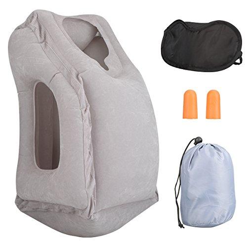 Almohada de viaje, almohadilla de aire inflable con tapones para los oídos, máscara de ojo y bolsa de transporte, diseño para el avión, transporte de viaje, acampar o oficina Napping
