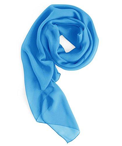Homrain donna elegante chiffon scialle sciarpa sera prom stola di colore pianura lightblue l