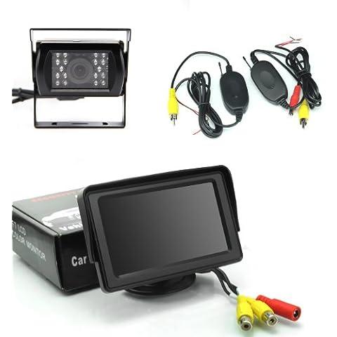 COOLER-Pantalla del monitor del coche del color cámara de visión trasera + 18 LED de visión nocturna transmisor agua a prueba de agua + 2,4 GHz receptor inalámbrico + cable de vídeo 6m Invertir establece kits de sensores de estacionamiento de copia de seguridad