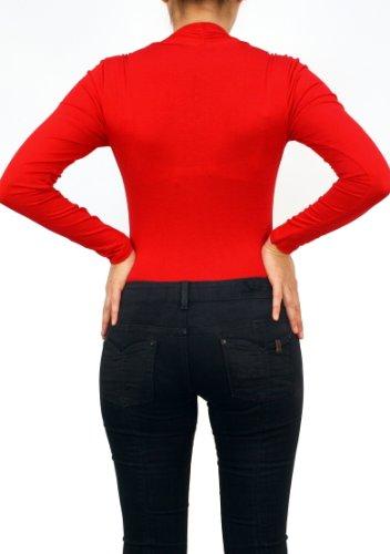 9350 Mesdames blouse, chemise, corps de blouse, Blouses corps, le corps chemise, col rond, viscose, manches longues, bleu, blanc, noir, orange, violet, rouge, S, M, L, XL, XXL. Rouge