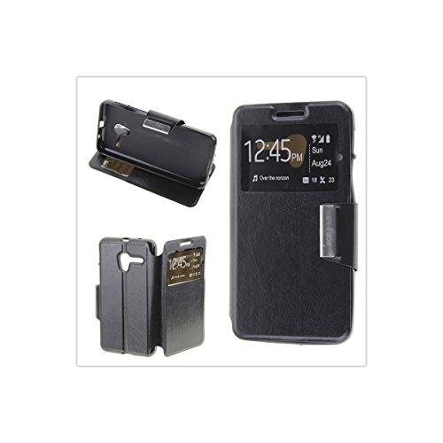 MISEMIYA - Funda Alcatel One Touch POP 3 5.0 Libro Agenda VIEW Soporte - Funda Solo, Negro