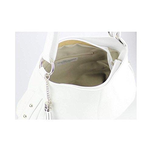 Borsa a mano in vera pelle bianca N1380, collezione primavera-estate, colore: bianco bianco