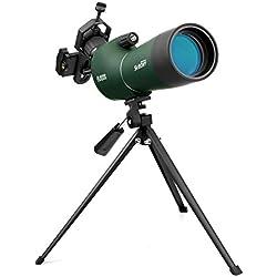 Svbony SV28 Longue Vue 20-60x60 Bak4 Prisme Imperméable Telescope Monoculaire Champ de Vision 40-20m/1000m Longue Vue Tir Sportif avec Trépied Adaptateur Téléphone pour Observation des Oiseaux