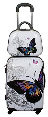 KuTaRu BUTTERFLY Koffer Reisekoffer Trolley Bordgepäck Kofferset (Butterfly, S & Beautycase (49 Liter))