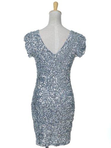 Anna-Kaci Frauen Sparkly Glitzer Pailletten Kurzarm V-Ausschnitt Bodycon Cocktail Mini Party Kleid Silber
