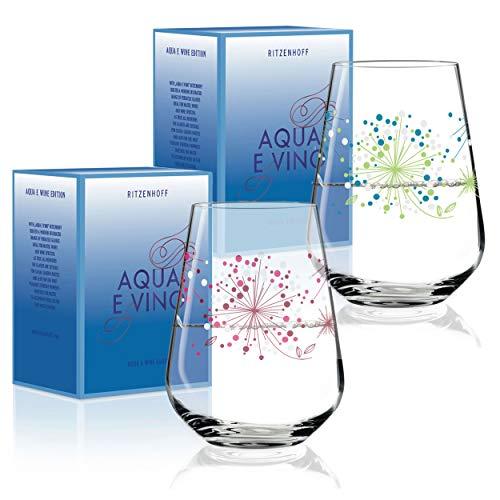 RITZENHOFF Aqua e Vino Design Wasser- und Weinglas, 2er Set, Weinkelch, Weinbecher, Weinschorle Trink Glas, Veronique Jacquart, Herbst 2018, Kristallglas, 0.5 L - Wasser Gläser Trink