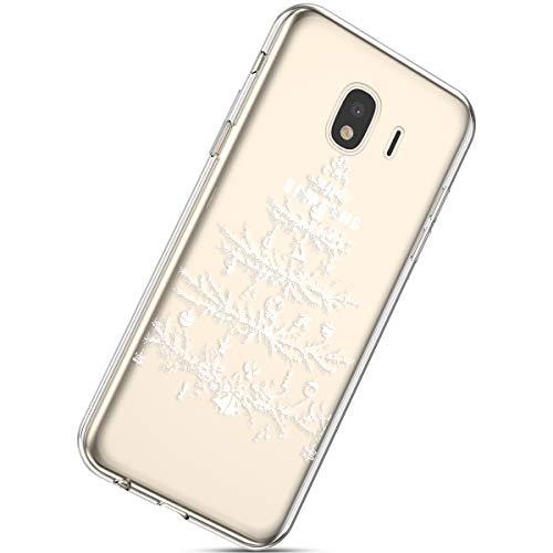 Handytasche Samsung Galaxy J4 2018 Silikonhülle Cover Durchsichtige Handyhülle Silikon Kristall Klar Schutzhülle Crystal Clear Handycover Silikon Dünn Transparent Hüllen,Weihnachten Baum