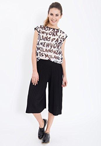 MEXX Halbarm Shirt im 2 in 1 Look, bedruckt Damen Rundhals Halbarm Casualmode MX3020589 Schwarz