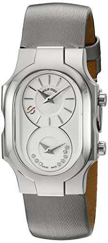 Philip Stein Women's 'Signature' Swiss Quartz Stainless Steel and Leather Casual Watch, Color:Silver-Toned (Model: 100-SDW-IPL)