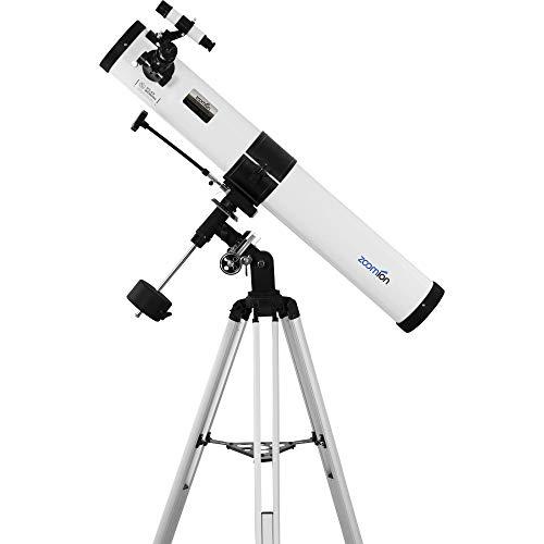 Zoomion Voyager 76/900 EQ Spiegelteleskop - Astronomisches Teleskop Set mit Stativ, Montierung und Okulare für Kinder und Einsteiger der Astronomie