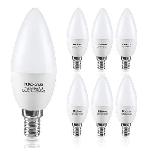 Lampadine a candela e14 led 6w equivalenti a 60 w, kakanuo c37 lampadine a candelabro bianco 5000k, 600lm, non dimmerabile, 6 pezzi