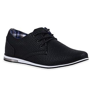 Modische Herren Business Schnürer Halb Sneakers Prints Leder-Optik Freizeit Schuhe 120055 Schwarz 40 Flandell