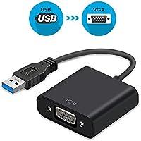 USB 3.0 to VGA, Adaptador USB 3.0 a VGA, adaptador de vídeo USB a VGA, pantalla de varios monitores, adaptador de cable externo de pantalla para PC portátil Windows 10/8.1/8/7/XP [versión actualizada] (negro)