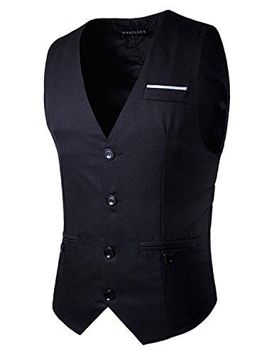 YCHENG Moda Waistcoat Chaleco Hombre Traje Blazers Sin Mangas de Boda Casual Slim Fit