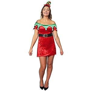 I Love Fancy Dress ilfd4633X S-Off el Hombro de Velur de Duende de la Navidad Skater Vestido con Borde Verde y cinturón (Reino Unido 6-8, XS)