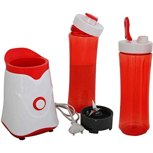 AFK-Smoothiemaker-Shake-Take-Mini-Smoothie-Mixer-250-Watt-mit-zwei-Bechern-Ice-Crusher-Gehuse-Rot-Wei
