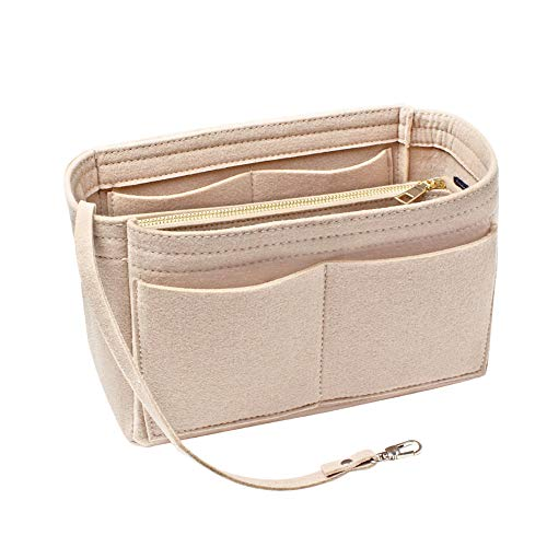 15 Taschen Filz Handtasche Organizer, ANSUG Damen Filz Taschenorganizer Kosmetiktasche mit Abnehmbarer Reißverschlusstasche und Griffe Schlüsselanhänger - 9,8 × 5,5 × 5,9