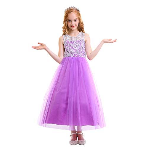 3e834cc4696e OBEEII Vestito Elegante da Ragazza Festa Cerimonia Matrimonio Damigella  Donna Sposa Prima Comunione Battesimo Carnevale Ballerina