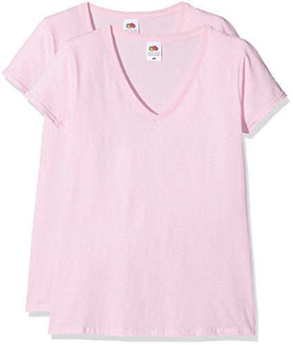 Fruit of the Loom Damen Top Ladies Valueweight V-Neck Rosa (Pink)