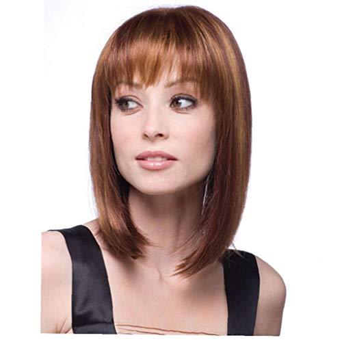 Frauen Kostüm Clearance - 1PC Natürliche braune glatte Haare Perücke Hitzebeständige Faser Kostüm tägliche Haar für Frauen Mädchen