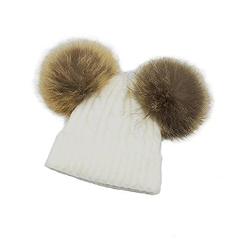 KVbaby Mädchen Winter Wärmer Mütze Waschbär Pelz Wollmütze Kinder Wolle Häkelarbeit Hut Ski Hüte,1-8 Jahre