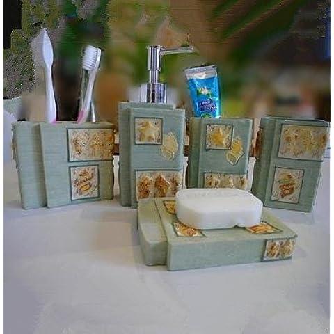 Goffrato elegante bagno mediterraneo 5 pezzo di resina Stella di Mare vanità Kit 5 Pezzo da Bagno - Stella Insieme Ruota