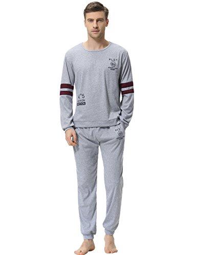 Aibrou Herren Schlafanzug Pyjama Baumwolle Lang Zweiteilig Nachtwäsche Set Langarm Rundhals Grau XXL