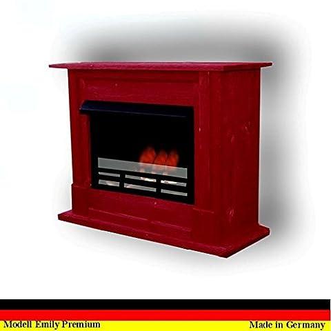 Bio Ethanol Cheminee Modell Emily Deluxe Royal Rouge réglable en acier inoxydable brûleur + verre de