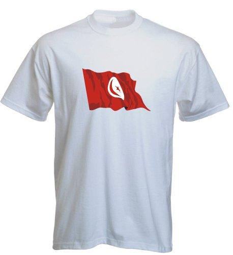 T-Shirt für Fußball LS181 Ländershirt mehrfarbig Tunisia - Tunesien mit Fahne Weiß