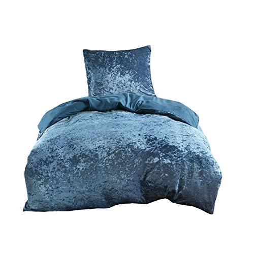 SCM Bettwäsche 135x200cm Blau Einfarbig Mikrofaser 2-teilig Bettbezug & Kissenbezug 80x80cm Luxus Crushed Velvet Ideal für Winter