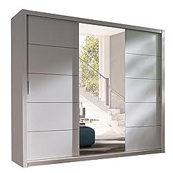 Kleiderschrank mit Spiegel Geodi, Elegante und Modernes Schwebetürenschrank, Schiebetür, Schlafzimmerschrank, Schlafzimmer, Jugendzimmer (250 cm, Weiß)