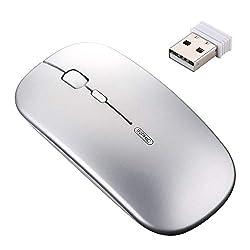INPHIC kabellose Maus Wiederaufladbare, Mute Silent Click Mini optische Schnurlos Mäuse, Ultra Thin 1600 DPI Funkmaus für Notebook, PC, Laptop, Computer, MacBook (Light Silber)