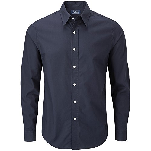 Charles Wilson Men's Long Sleeve Plain Poplin Casual Shirt (3X-Large, Navy)