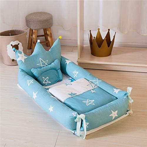 WNZL Baby Lounger, Co Sleeping Baby Stubenwagen - Babybett aus Baumwolle Premium-Qualität und größere Größe (0-24 Monate) - Atmungsaktives, hypoallergenes, tragbares Kinderbett,3 -