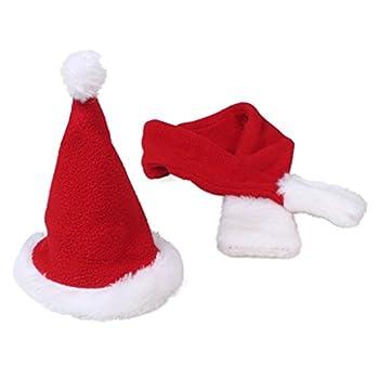 Mignon chapeau de Père Noël et écharpe costume de costume rouge de Noël habiller (Taille du cou L-Fit à 14,1