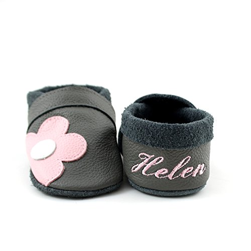little foot company® 3922 Krabbelschuhe Babyschuhe Lauflernschuhe mit Namensstickerei Blume weiches Leder steingrau 18/19 ca. 9-16 Monate