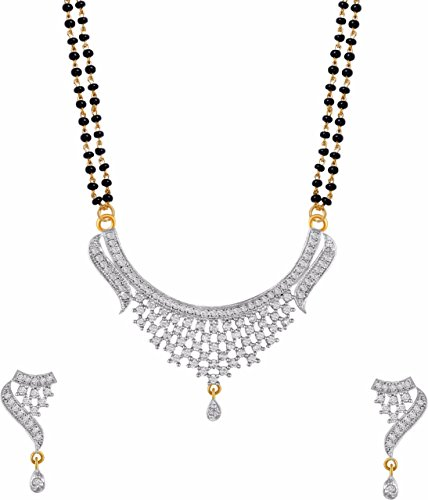 ZENEME Gold American Diamond Gold Plated Mangalsutra Pendant With Chain & Earring Jewellery Set For Women