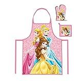 Kinder Küche Chef Set mit Schürze Kochschürze, Topfhandschuh und Topflappen wählbar Peppa Paw Princess Geschenk für Mädchen (Princess Disney)