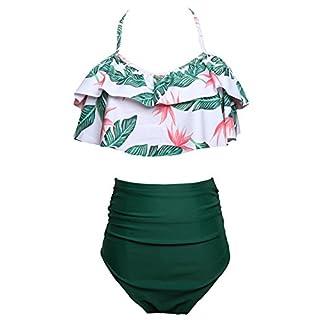 Anyu Women's High Waisted Bikinis Sets Printing Swimwear Sets Swimsuit Green S