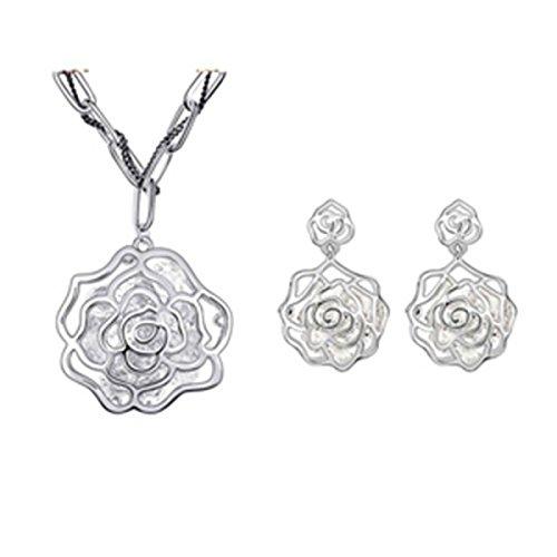 MSNHMU Mode Retro Rose Blume Halskette Ohrringe Set Geschenk Schmuck,Silver-M (Rose Gypsy Moda)