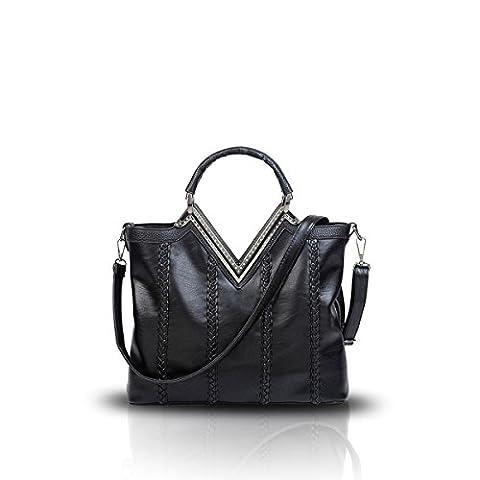 Nicole&Doris New Women / épaule Ladies Messenger sac à main Fashion Casual Braid V-forme Noir