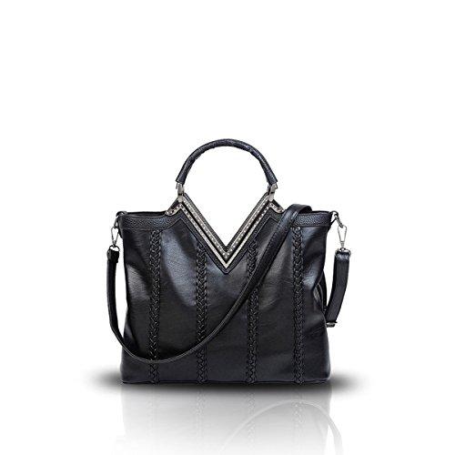 Nicole&Doris Nuove donne / signore Shoulder Bag Messenger borsa casuale della treccia di modo V-Shaped Rosso Nero